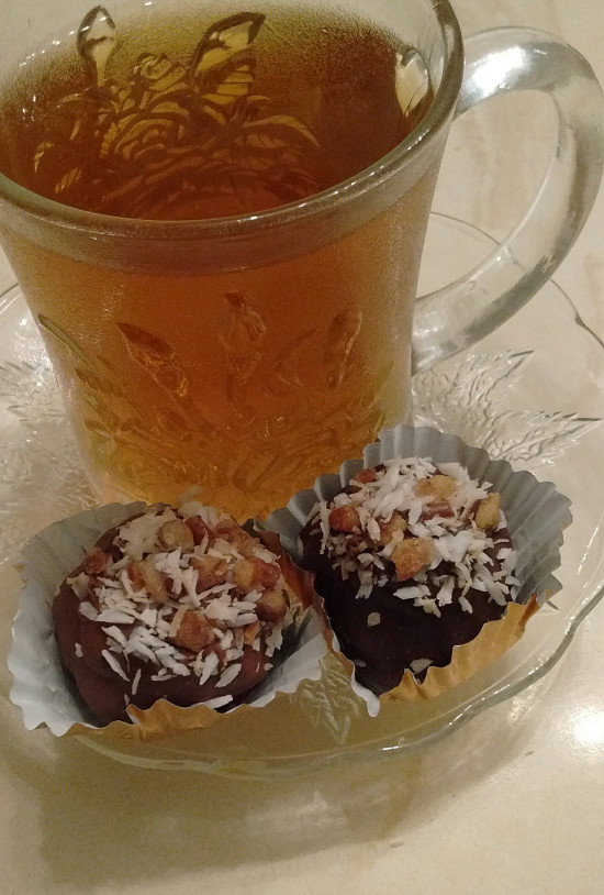 German Chocolate Bon Bons topped with Toasted Pecans & Coconut