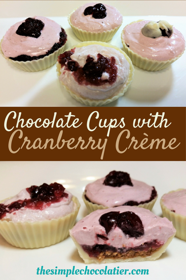 Chocolate Cups with Cranberry Crème (White & Dark Chocolate Cups)