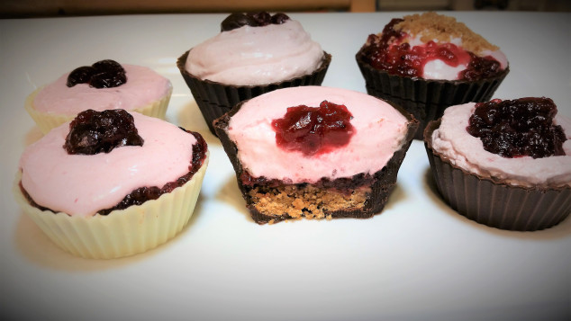 Variety Of Chocolate Cups With Cranberry Crème