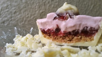 White Chocolate Cups with Cranberry Crème and Graham Crumbles