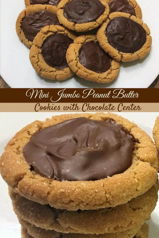 Mini Jumbo Peanut Butter Cookies with Chocolate Center