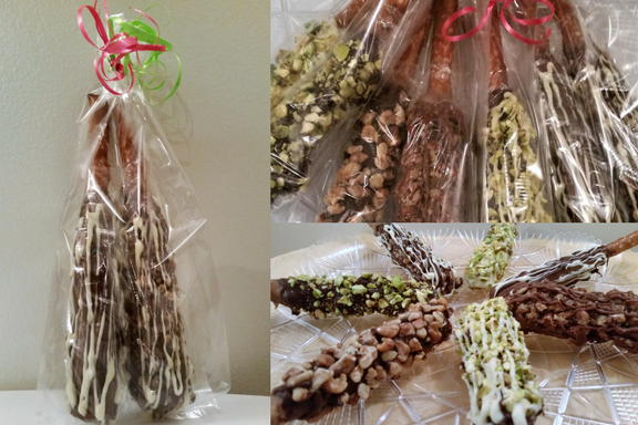 Chocolate-Caramel Dipped Pretzel Rods- Give the Gift of Chocolate