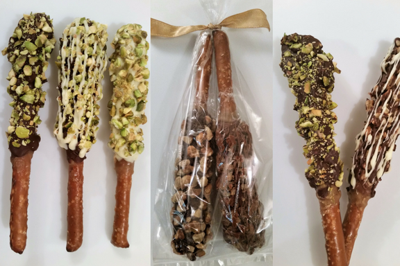 Pretzel Rods (Dark Chocolate Pistachio, Dark, Milk & White Chocolate Almond, White Chocolate Pistachio)