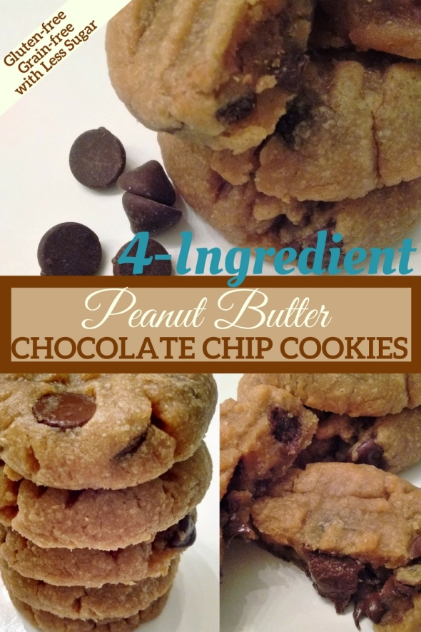 4-Ingedient Peanut Butter Chocolate Chip Cookies with Less Sugar