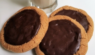 Jumbo Peanut Butter Cookies with Dark Ganache (Grain-Free & Gluten-Free Versions)